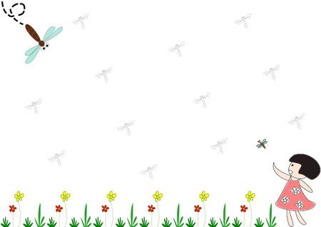 dibujo niños corriendo en el jardín y tratar de atrapar a la libélula para la presentación de antecedentes