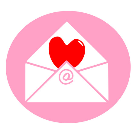 vector of red heart to sent by e-mail on white background Vector