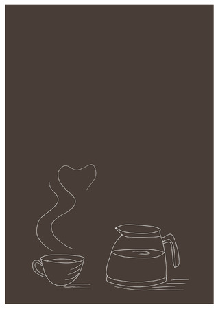 lliquid: drawing a cup of coffee with pot on brown background