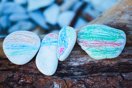 painted in different colors of a childs hand sea pebbles lying on a tree.