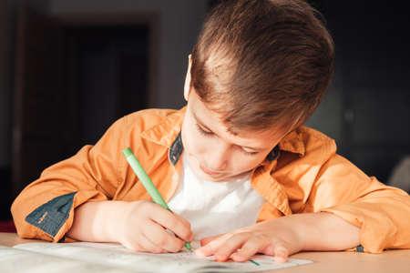 Cute 7 years old child doing his homework sitting by desk. Boy writing in notebook. Zdjęcie Seryjne