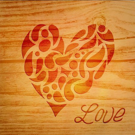 Vector Valentines day card, heart over wooden background