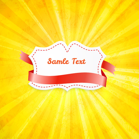 Label over yellow background