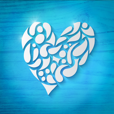 Heart over blue background