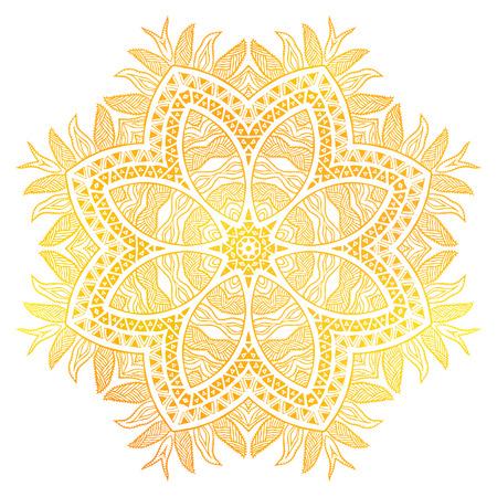Gold flower over white background Ilustração