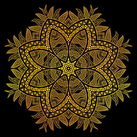Gold flower over black background Ilustração
