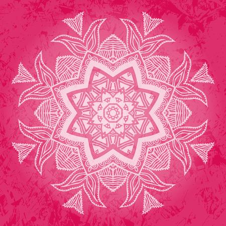 Tribal flower over pink background