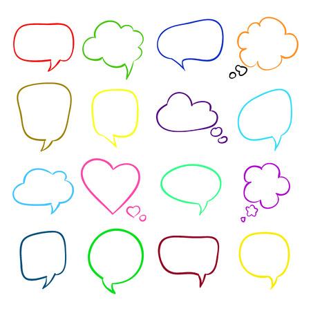 Set of speech bubbles, sketch Ilustração
