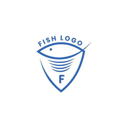 Simple Logo Icon Fish with Shield Mono Line