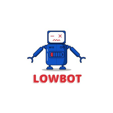 LowBot - Character Robot with Low Battery status Illustration