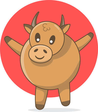 Ox Cute Illustration, Cute Animal Ox Illustration. Mascot Ox for Chenese New Year 2021m the year of ox 向量圖像