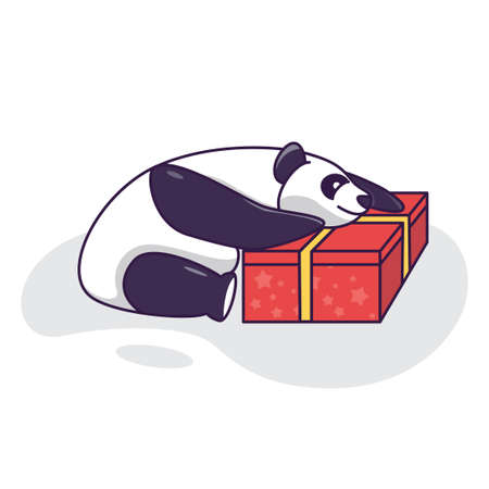 Cute Panda hugging a gift, Birthday card funny panda. Valentine day illustration card. Panda with red gift