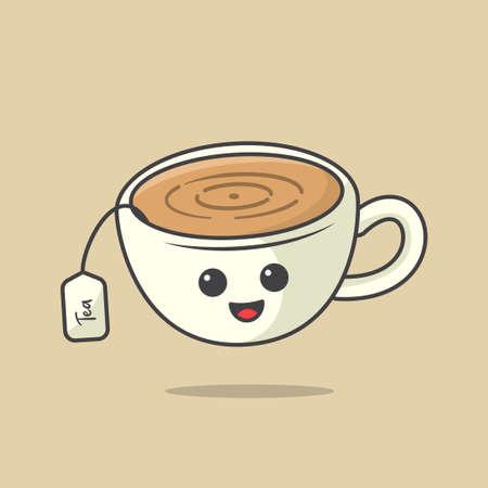 Tea Cup Kawaii Illustration, Cute kawaii illustration, caharacter icon design