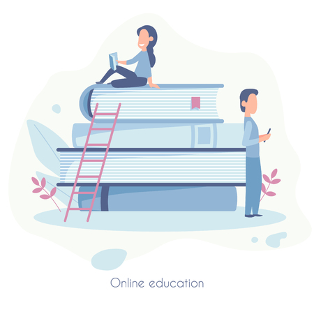 Landing page template of Online education. Modern flat design concept of web page design for website and mobile website. Vector illustration