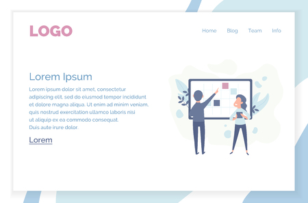 office concept business people vector illustration. Modern flat design concept of web page design for website and mobile website. Çizim
