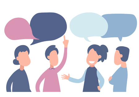 Ilustración de vector de estilo de dibujos animados plana. Los empresarios discuten sobre redes sociales, noticias, redes sociales, chat, bocadillos de diálogo.