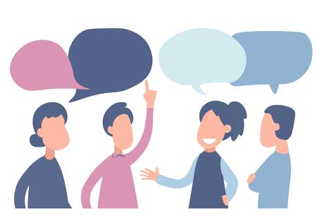 Vektorillustration im flachen Karikaturstil. Geschäftsleute diskutieren über soziale Netzwerke, Nachrichten, soziale Netzwerke, Chat und Dialog-Sprechblasen
