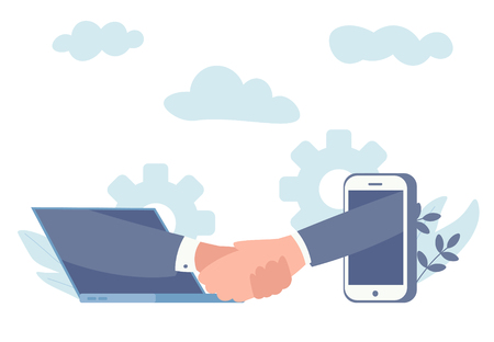 online conclusion of the transaction. the opening of a new startup. business handshake, via phone and laptop. vector illustration in a flat style investor holds money in ideas online. Vectores