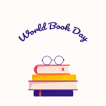 World book day. Stack of colorful books with open book on teal background. Education vector illustration.