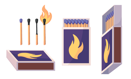 Collection of matches. Burning match with fire, opened matchbox, burnt matchstick. Flat design style. Vector illustration isolated