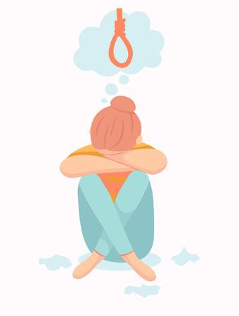 Depressive Frau will Selbstmord begehen, indem sie im Seil hängt. Traurige Teenager-Frau denkt an den Tod. Depressionsfrau sitzt auf dem Boden. Depressives Mädchen weint und bedeckt ihr Gesicht mit ihren Händen