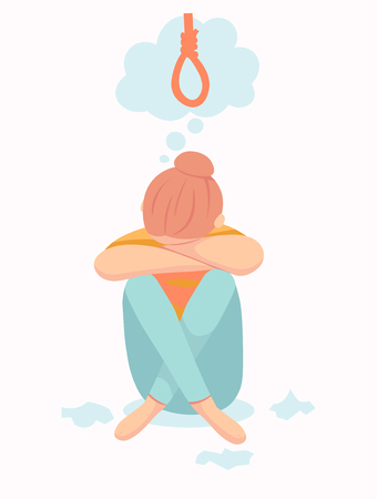 Depressive woman wants to commit suicide by hanging in the rope. Sad teen female think about death. Depression woman sit on the floor. Depressed girl crying covering her face with her hands
