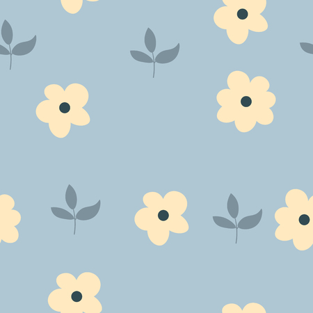 Blossom Floral pattern in the blooming botanical Motifs scattered random. Seamless vector texture. For fashion prints. Printing with in hand drawn style light blue background