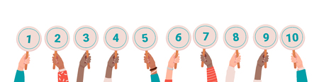 Collection of male and female hands holding round cards or signs with amount of scores got in competition, tournament or contest. Votes of judges. Colored vector illustration in flat cartoon style.