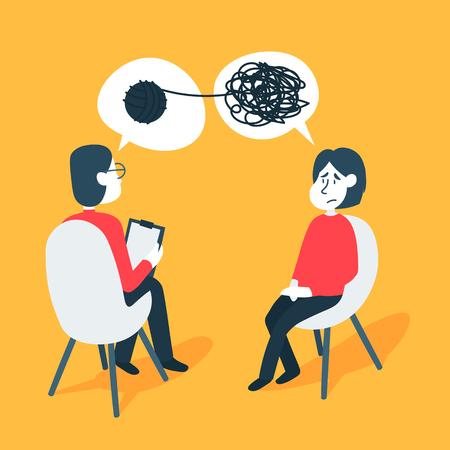 Concetto di consulenza psicoterapeutica. Psicologo uomo e paziente giovane donna nella sessione di terapia. Trattamento dello stress, delle dipendenze e dei problemi mentali.