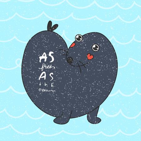 sea otter. vector illustration. as free as ocean