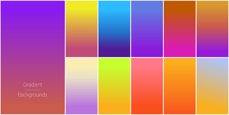 Abstract set of modern bright color gradient backgrounds and texture for mobile applications and smartphone screen. Vivid design element for banner, cover or flyer.