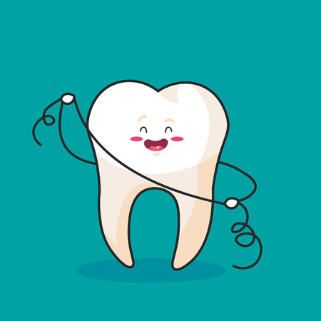 Tooth using dental floss for white teeth, vector concept.