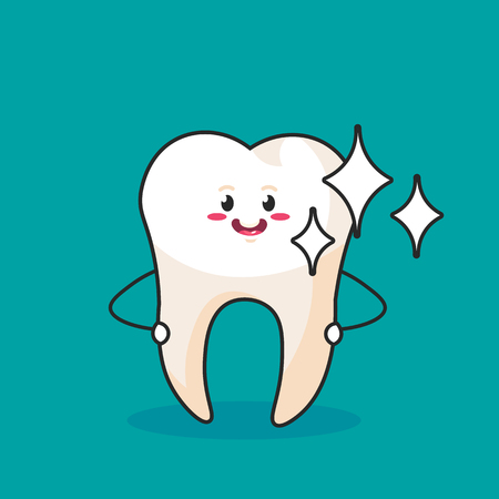 Strong Healthy Tooth iSolated on Blue Background. Cartoon Character for Dentistry Design Concept