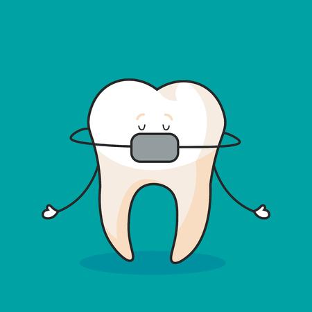 Cute tooth, flying fairy with shining effect stars, cartoon character, oral dental hygiene, vector. Ilustração