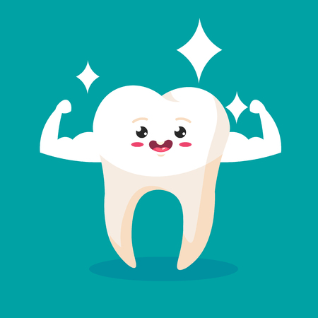 Strong Muscle Healthy Tooth iSolated. Cartoon Character for Dentistry Design Concept Vector Illustration Ilustração