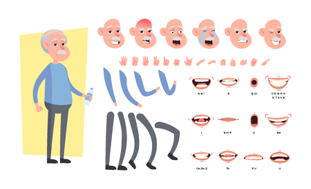 Front, side, back view animated character. Elderly man character creation set with various views, hairstyles, face emotions, poses and gestures. Cartoon style, vector illustration.
