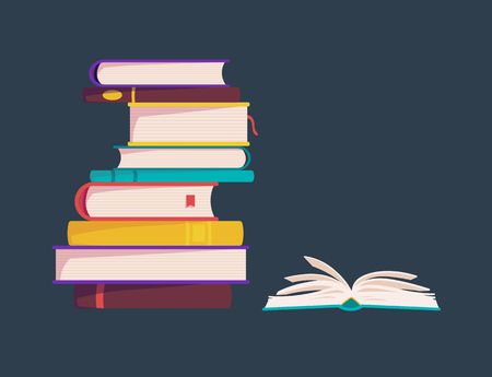 lots of colorful books are stacked. vector illustration. one open book
