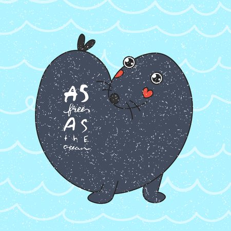 A cute sea otter playing in the water. flat design style vector graphic illustration set Ilustração