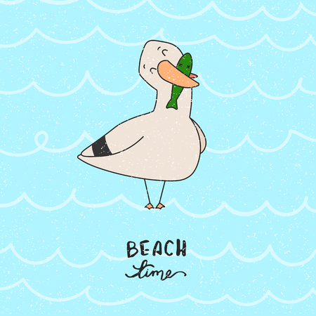 Cartoon seagull-sailor illustration with hand drawn lettering. Can be used for print like a poster, kids apparel print, graphic print design. Vector illustration. Ilustração