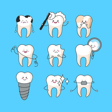 Happy teeth set. Cute tooth characters. Dental personage vector illustration. Dental concept for your design. Illustration for children dentistry. Oral hygiene, teeth cleaning. Ilustração