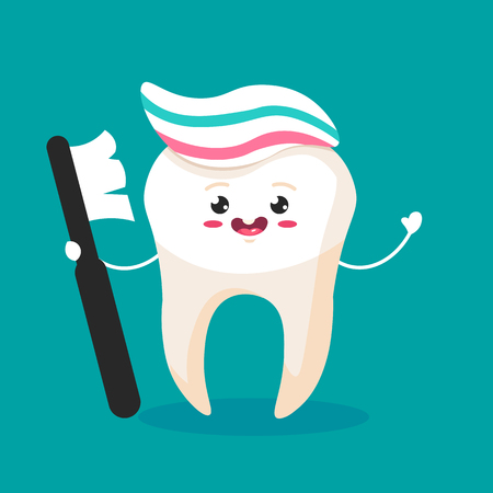 Cute happy smiling tooth with toothbrush and toothpaste hairstyle.Vector modern flat style cartoon character illustration.Isolated blue background.Clear tooth concept.Brushing teeth. Ilustração