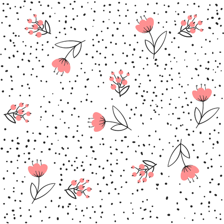 Flower seamless pattern vector. Simple floral print with small rose. Background vector illustration.