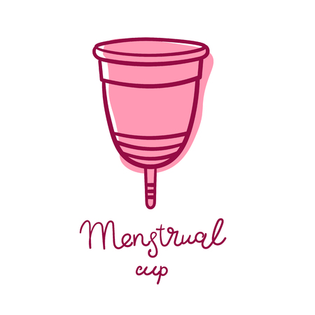 Menstrual cup - feminine hygiene product, device for collecting blood during menstruation and period is used inside the of woman female. Vector flat and cartoon illustration