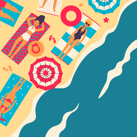 People at beach or seashore relaxing and performing leisure outdoor activities - sunbathing, reading books, talking, walking, surfing, swimming in sea or ocean. Flat cartoon vector illustration. Ilustração