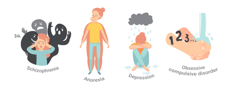 Collection of men and women with mental disorders, illnesses, impairments, psychiatric or psychological problems. Flat cartoon characters isolated on white background. Colorful vector illustration. Illusztráció
