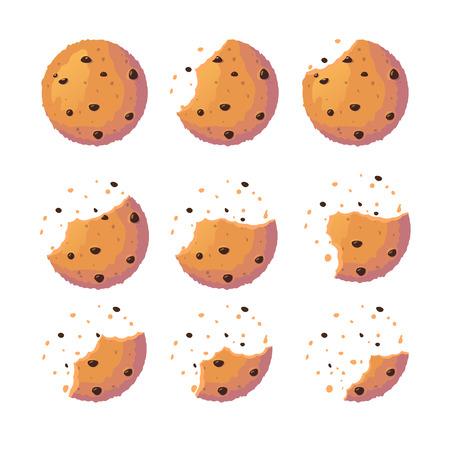 Ensemble de cookies. Biscuit sucré avec des fragments d'écrasement. Illustration de vecteur de cracker plat isolé sur fond blanc