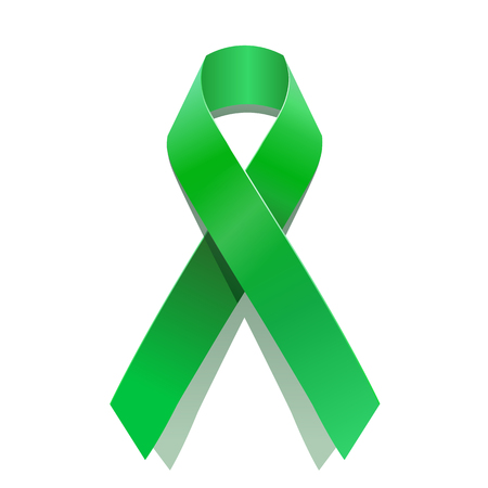 Green cancer awareness ribbon for many medical conditions and diseases . Illustration