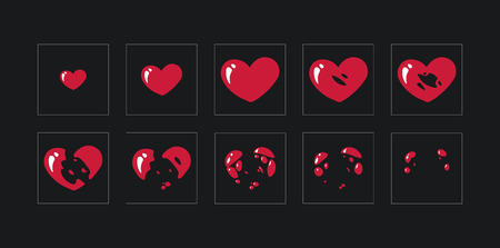 A sprite sheet,explosion of a heart. Animation for a game or a cartoon. vector Illustration