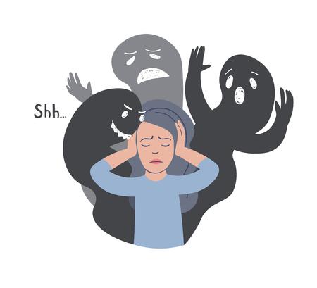 Ilustración de vector de trastorno de identidad disociativo. Mujer con siluetas de otros rostros. Trastorno de personalidad dividida, trastorno límite, esquizofrenia. Enfermedad mental. Ilustración de vector