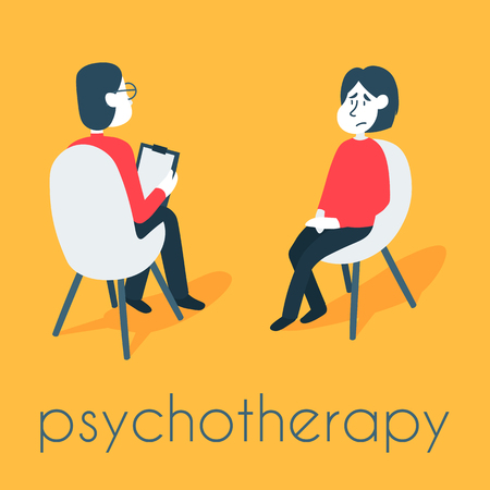 Psychotherapy counseling concept. Psychologist man and young woman patient in therapy session. Treatment of stress, addictions and mental problems. Ilustração